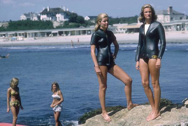 Mid Adult Women Art Print featuring the photograph Swimmers At Newport by Slim Aarons