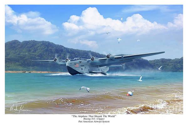Pan Am Art Print featuring the digital art The Airplane That Shrank The World by Mark Karvon