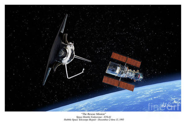 Space Shuttle Art Print featuring the digital art The Rescue Mission by Mark Karvon