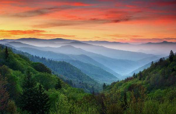 Great Smoky Mountains Art Print featuring the photograph Smoky Mountains Sunrise - Great Smoky Mountains National Park by Dave Allen