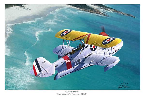 Aviation Art Print featuring the painting Unsung Hero - Grumman J2F Duck by Mark Karvon