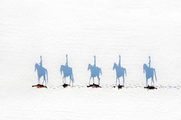 Winter Riders From Above by Shelley Paulson
