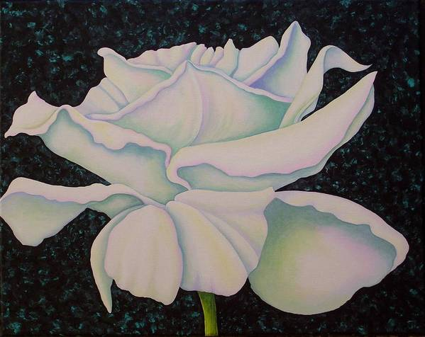 Acrylic Art Print featuring the painting White Rose by Carol Sabo