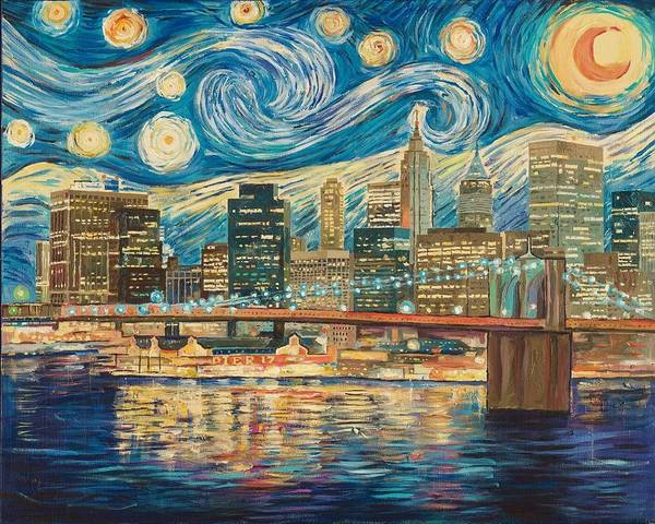 NY. Brooklyn Bridge.Starry night by Zachary Sasim