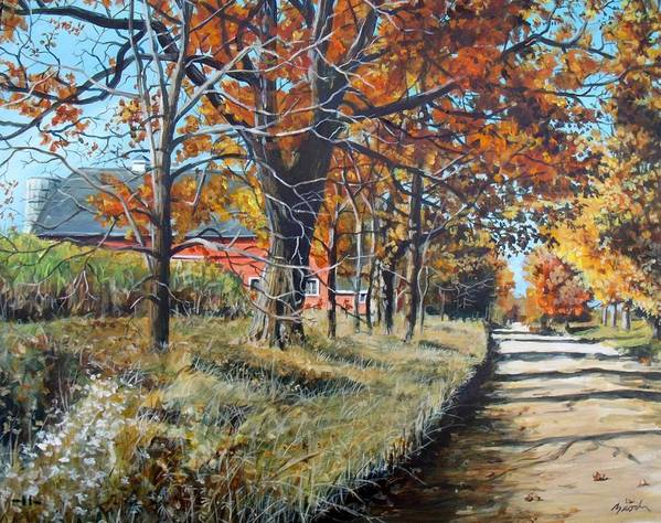 Barn Art Print featuring the painting October Road by William Brody