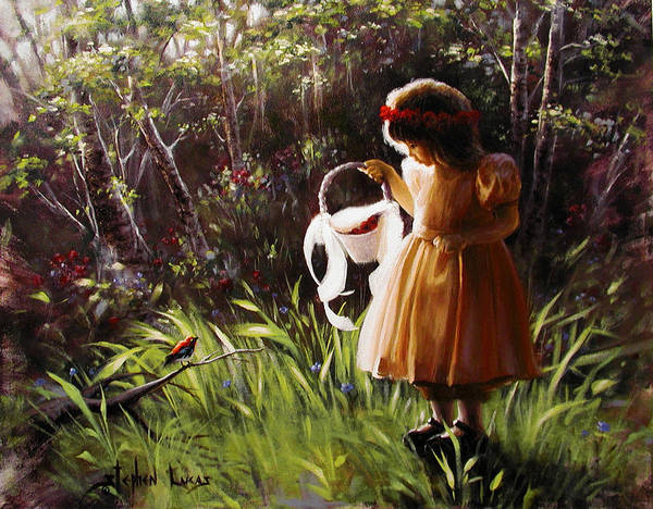 Art Print featuring the painting Girl with Basket of Roses by Stephen Lucas