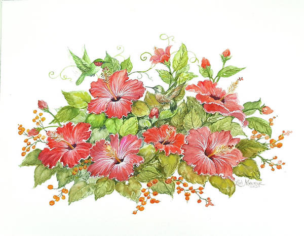 Hummingbirds Art Print featuring the painting Hummers 'n Hibiscus by Lois Mountz