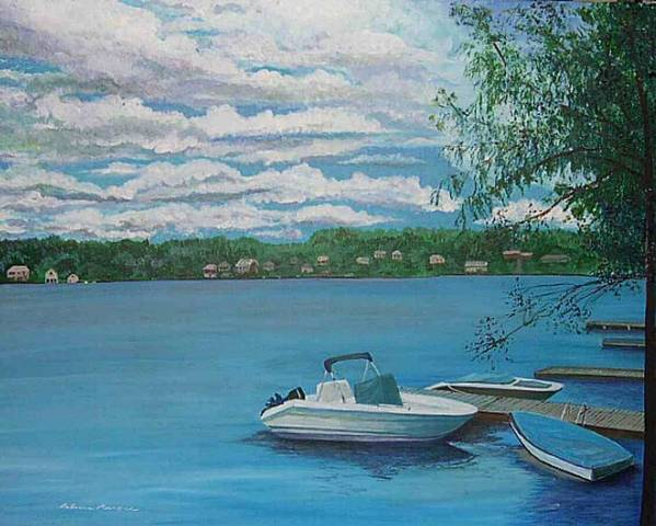 Lake Art Print featuring the painting Lake Quinsigamond In Massachusetts Acrylic by Rebecca Marona