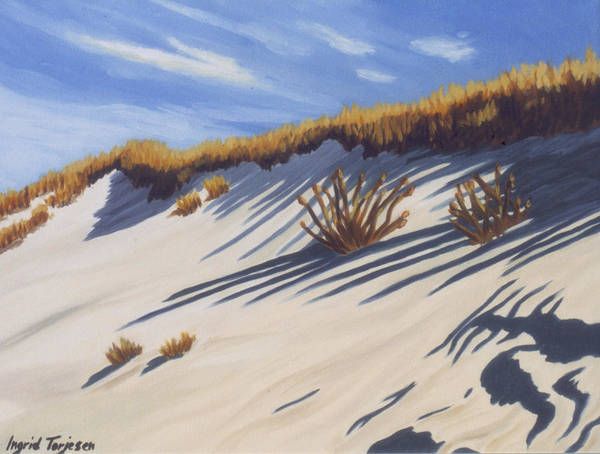Gin Beach Art Print featuring the painting High Dune by Ingrid Torjesen