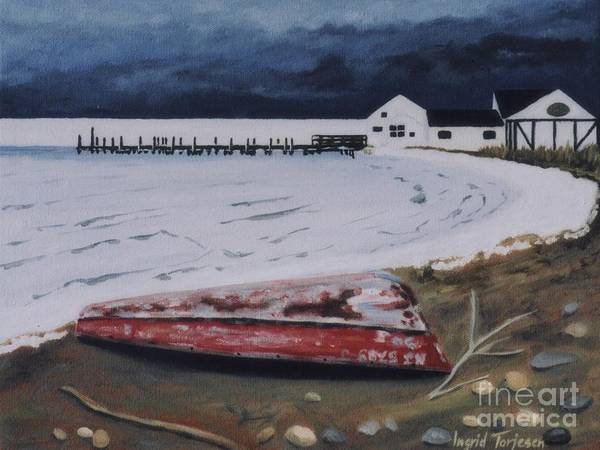 Duryea's Art Print featuring the painting Frozen Bay by Ingrid Torjesen