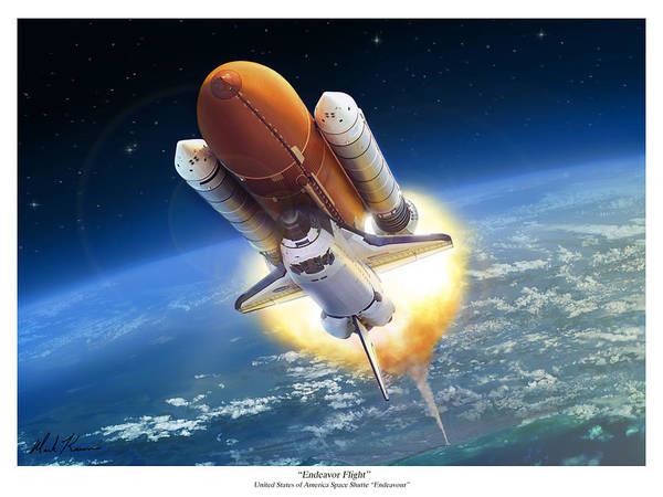 Space Shuttle Art Print featuring the painting Endeavour Flight by Mark Karvon