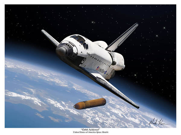 Space Shuttle Art Print featuring the painting Orbit Achieved by Mark Karvon