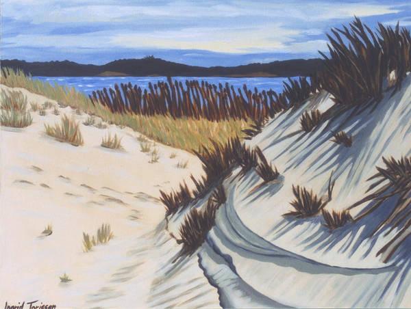 Montauk Art Print featuring the painting Oyster Pond Dune Montauk by Ingrid Torjesen