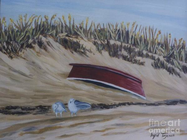 Art Print featuring the painting Red Boat by Ingrid Torjesen