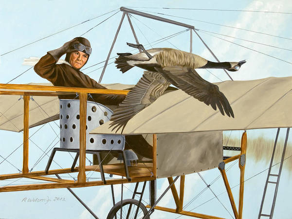 Aviator Art Print featuring the painting The Fledgling by Karen Wilson