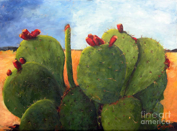 Cactus Art Print featuring the painting Cactus Pears by Chris Neil Smith