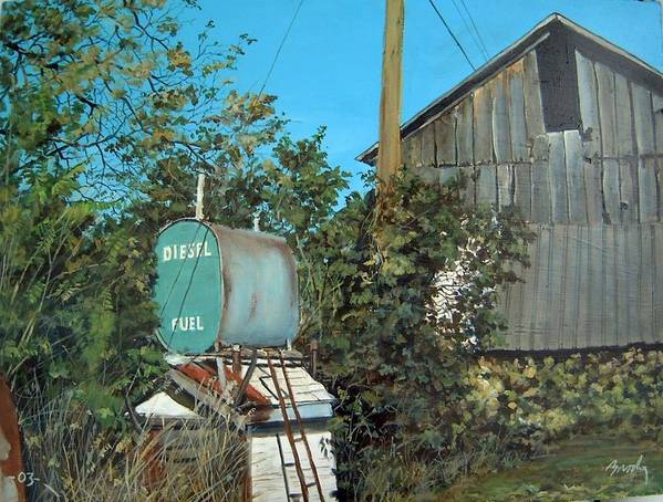 Barn Art Print featuring the painting Diesel Fuel by William Brody