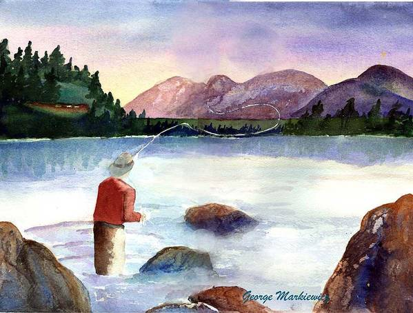Fisherman At Lake Art Print featuring the print Fisherman in the morning by George Markiewicz