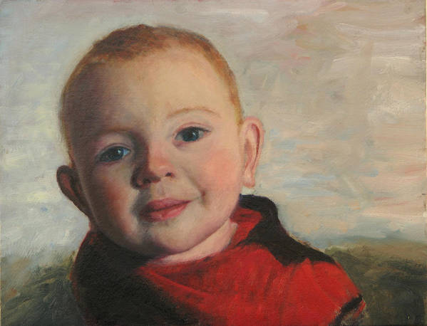 Portraits Art Print featuring the painting Little boy in red by Chris Neil Smith