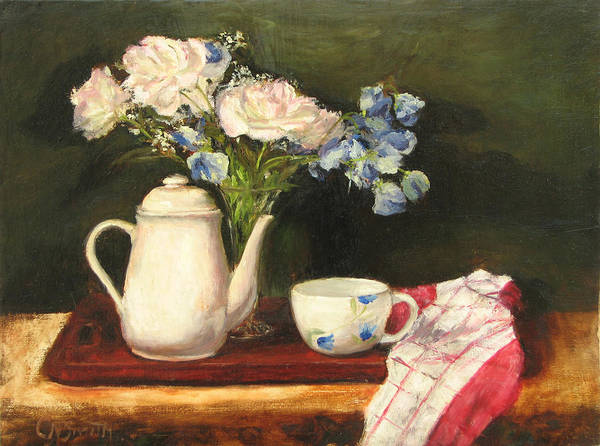 Still Life Art Print featuring the painting Tea Pot by Chris Neil Smith
