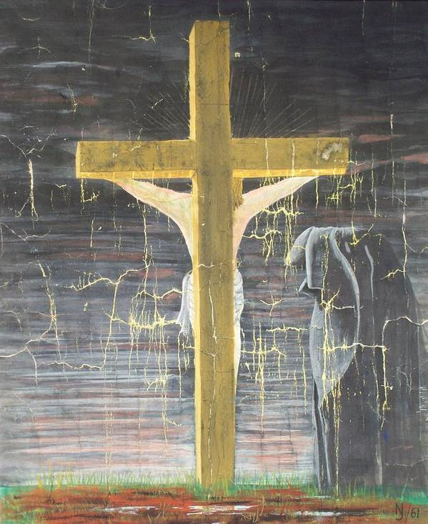 Cross Art Print featuring the painting Approaching Death by Norman F Jackson