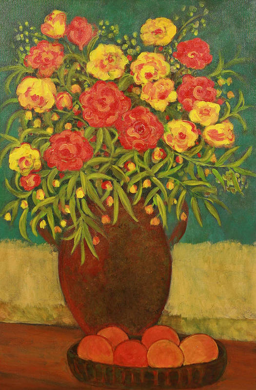 Floral Art Print featuring the painting Babette's Bouquet by Susan Rinehart