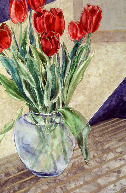 Watercolor Art Print featuring the painting Tulip Bouquet - 11 by Caron Sloan Zuger
