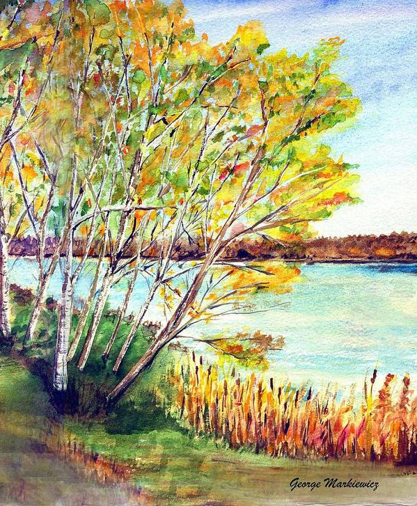 Lake And Trees Landscape Art Print featuring the print Lake Geneva by George Markiewicz