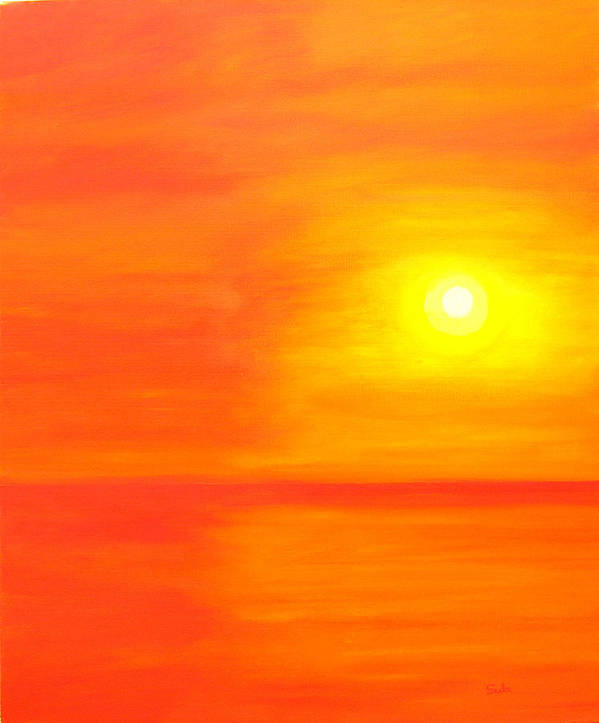 Caribbean Art Print featuring the painting Sun Glow II by Sula Chance