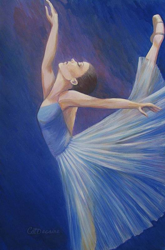 Blue Art Print featuring the painting Blue Ballerina by Catalina Decaire