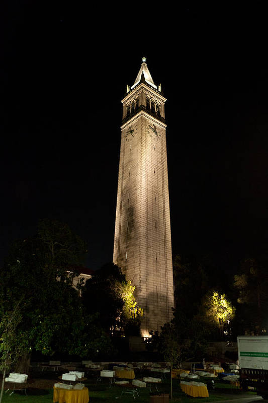 California Art Print featuring the photograph Cal Sather Tower Lights Up The Night by Replay Photos