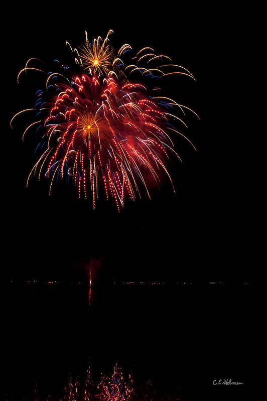 Fireworks Art Print featuring the photograph Fireworks II by Christopher Holmes