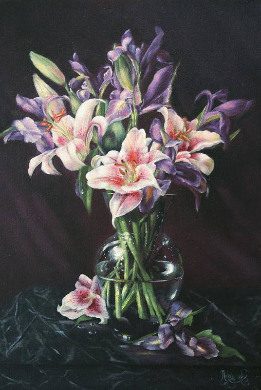 Floral Still Life Art Print featuring the painting Laurette' Lillies by Michelle Kerr