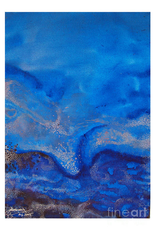 Abstract Art Print featuring the painting Seascape-1 by Padmakar Kappagantula