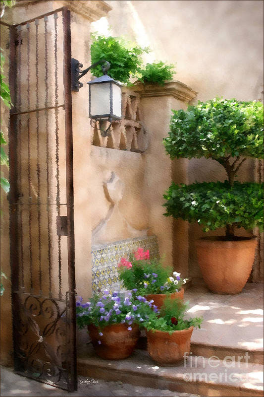 Doorway Landscape Still Life Painting Art Print featuring the painting Tranquil Oasis by Carolyn Staut
