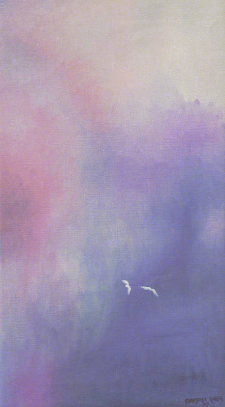 Sky Art Print featuring the painting Two Birds Flying In Ravine. by Ingela Christina Rahm