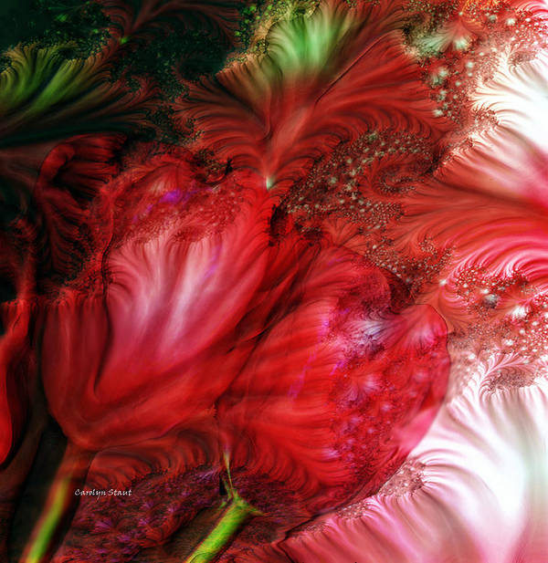 Red Tulips Fractal Art Floral Abstract Realism Art Print featuring the digital art Red Tulips by Carolyn Staut
