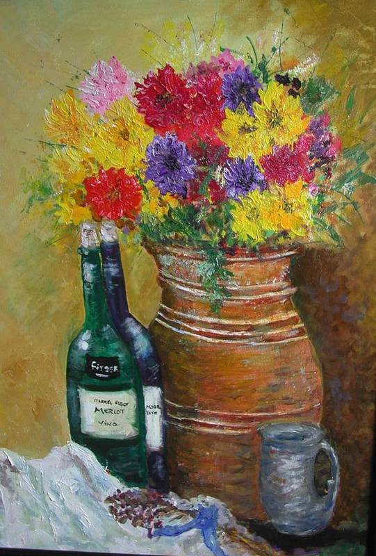 Still Life Art Print featuring the painting Still Life With Flowers by Michael L Brown