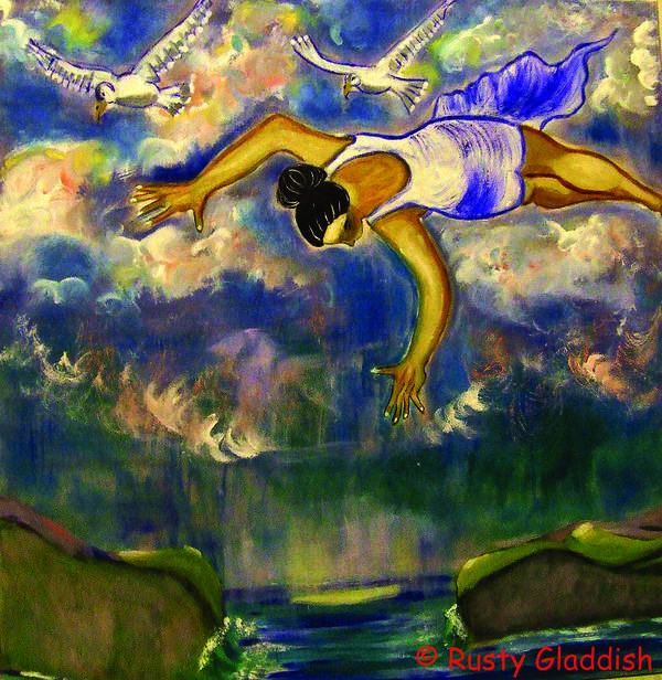 Dreams Art Print featuring the painting Flying Over Seas by Rusty Gladdish