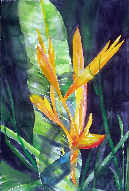 Tropical Plant Art Print featuring the painting Golden Torch by Maritza Bermudez
