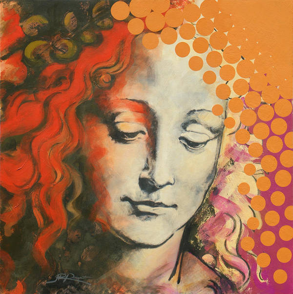 Figurative Art Print featuring the painting Davinci's Head by Jean Pierre Rousselet