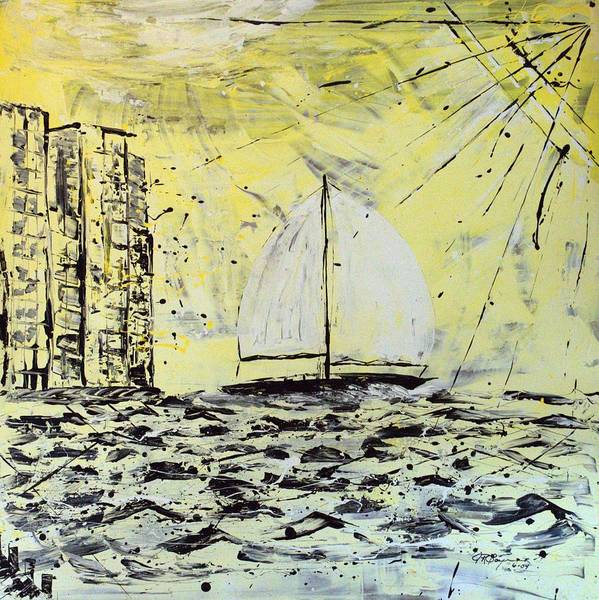 Abstract Art Print featuring the painting Sail And Sunrays by J R Seymour