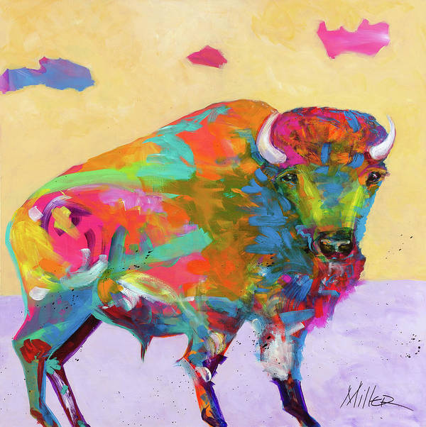 Buffalo Art Print featuring the painting Windswept by Tracy Miller