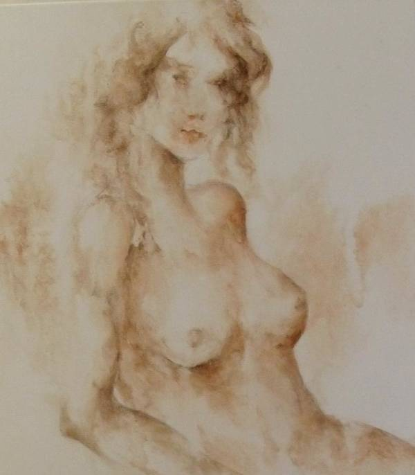 Nude Art Print featuring the painting Misty Girl by Joann Shular