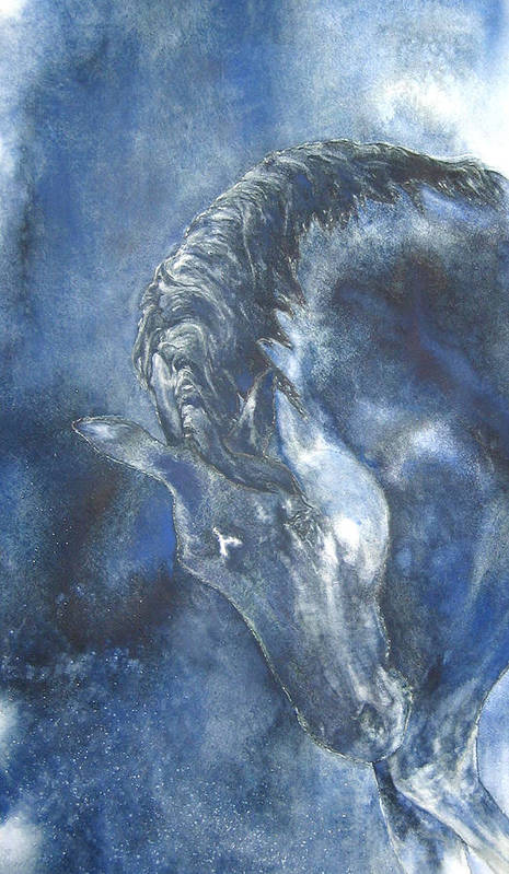 Horse Art Print featuring the painting Blues by Barbara Widmann