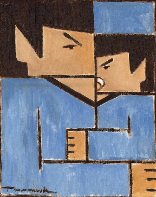 Spock Art Print featuring the painting Cubism Spock baby Spock Art Print by Tommervik