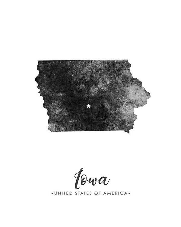 Iowa State Map Art - Grunge Silhouette by Studio Grafiikka