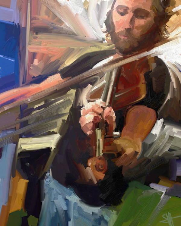 Art Art Print featuring the digital art The Fiddler by Scott Waters