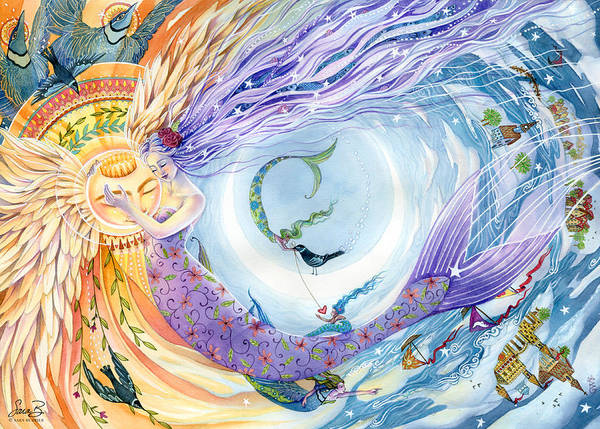Mermaids Print featuring the painting You Are The Sun I Am The Moon by Sara Burrier