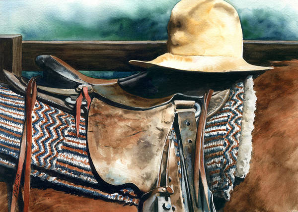 Saddle Print featuring the painting Janessa's Hat by Nadi Spencer